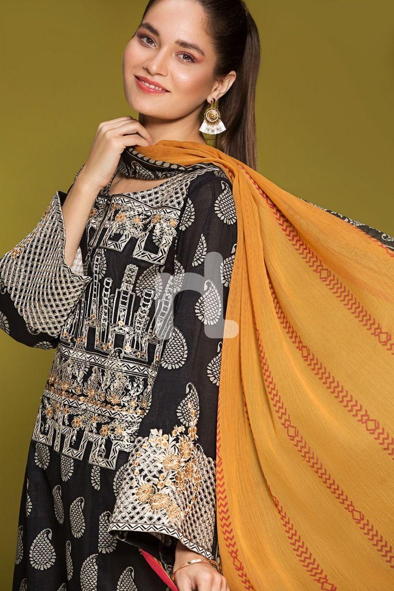 8da9989870 Nishat Linen > 41906055-Lawn & Krinckle Chiffon– Black Printed Embroidered  2PC