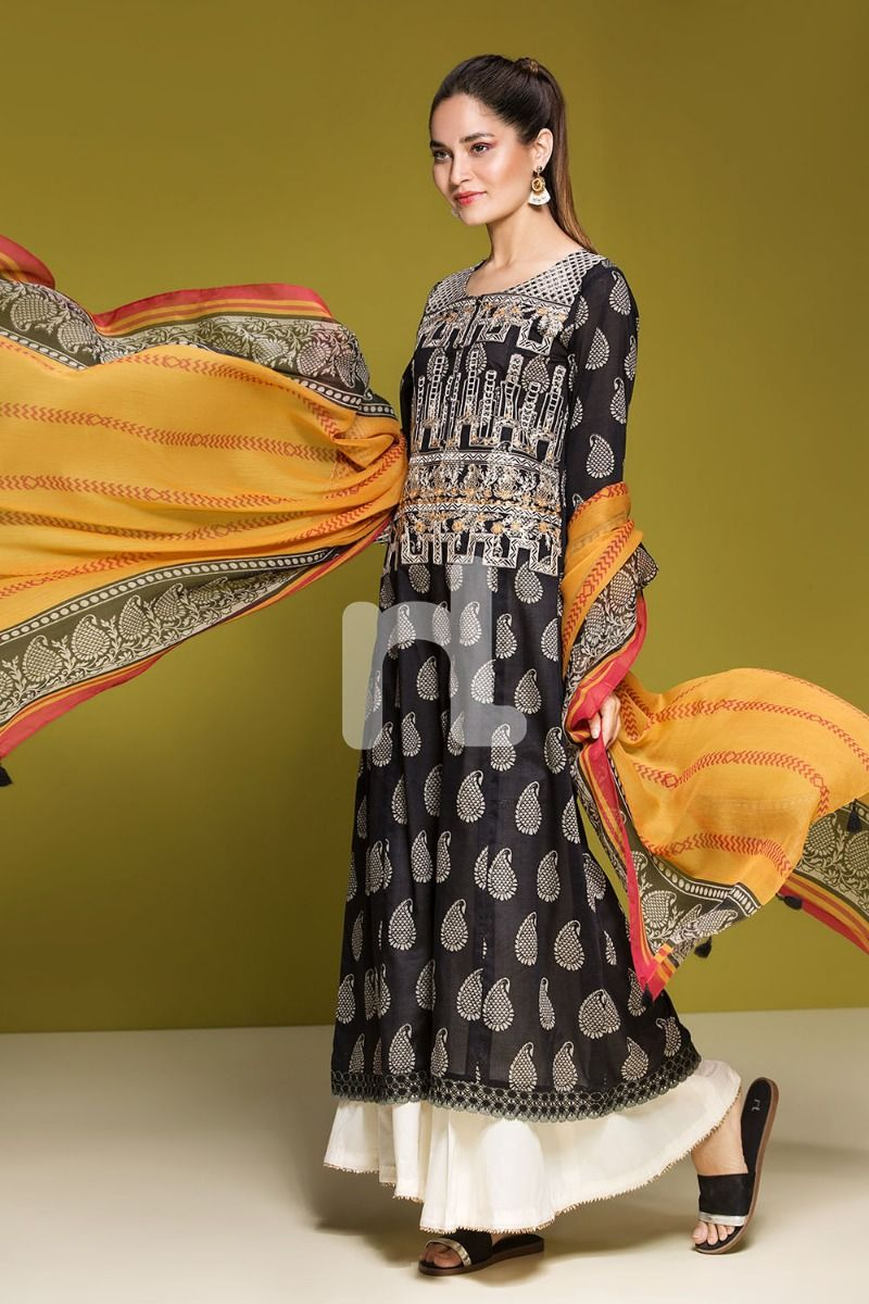 fb4c58702f You can buy 41906055-Lawn & Krinckle Chiffon– Black Printed Embroidered 2PC  at discount price with free shipping and cash on delivery options.
